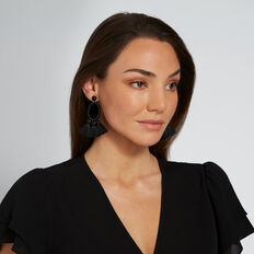 Oval Tassel Earrings  BLACK  hi-res