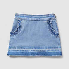 Frill Pocket Denim Skirt  BRIGHT WASH  hi-res