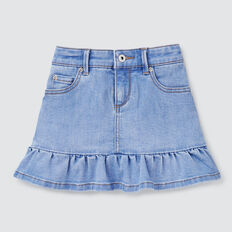 Peplum Denim Skirt  BRIGHT WASH  hi-res