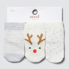 3-Pack Reindeer Socks  VANILLA  hi-res