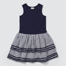 Splice Gingham Dress  NAVY  hi-res