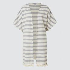 Multi Stripe Poncho  BLACK/CREAM  hi-res