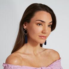 Circle Tassle Earrings  NAVY  hi-res