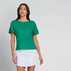 Slouchy Frill Tee  PEACOCK GREEN  hi-res