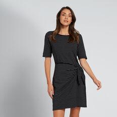 Knot Front Dress  BLACK/WHITE STRIPE  hi-res