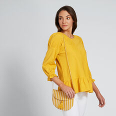 All Over Stripe Clutch  AMBER YELLOW STRIPE  hi-res