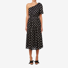 One Shoulder Spot Dress  BLACK/WHITE SPOT  hi-res
