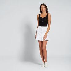 Ruffle Hem Denim Skirt  WHITE  hi-res
