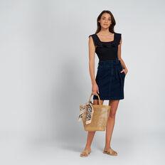 High-Waist Tie Skirt  DEEPEST BLUE WASH  hi-res