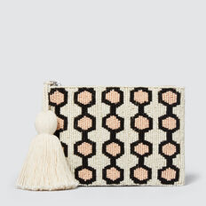 Phoebe Beaded Pouch  WHITE MULTI  hi-res