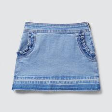 Frill Pocket Denim Skirt  BRIGHT WASH  hi-res