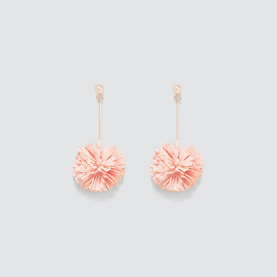Ruffle Pom Pom Earrings  PEACH NOUGAT  hi-res