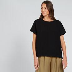 Oversized Textured Top  BLACK  hi-res