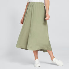 Flowing Midi Skirt  WASHED OLIVE  hi-res