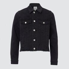 Distressed Denim Jacket  BLACK WASH  hi-res