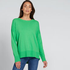 Hi Lo Round Neck Sweater  WASHED GREEN  hi-res