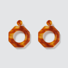 Octagon Earrings  AMBER  hi-res
