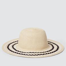 Ric Rac Trim Floppy Hat  NATURAL  hi-res