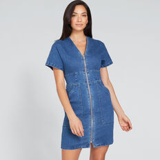 Mini Zip Through Dress  DEEP SEA DENIM  hi-res