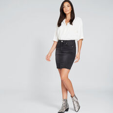 Side Stitch Denim Skirt  WASHED BLACK  hi-res