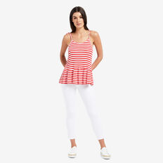 Peplum Tank  DUSTY RED STRIPE  hi-res