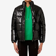 Coated Puffa Jacket  BLACK  hi-res