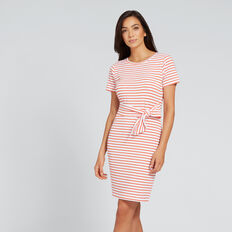 Tie-Up T-Shirt Dress  SPANISH RED STRIPE  hi-res