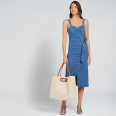 Wrap Front Denim Dress  DEEP SEA DENIM  hi-res