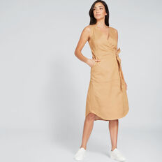 Sleeveless Wrap Dress  GOLDEN TAN  hi-res