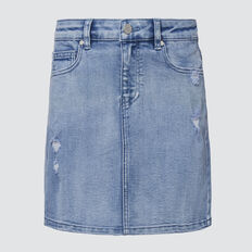 Distressed Denim Skirt  PALE BLUE WASH  hi-res