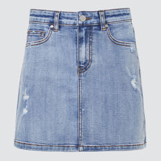 Distressed Denim Skirt  VINTAGE WASH  hi-res