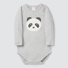Chenille Panda Bodysuit  BIRCH MARLE  hi-res