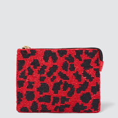 Beaded Coin Purse  RED/BLACK  hi-res