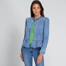 Frill Detail Denim Jacket  CLASSIC DENIM  hi-res