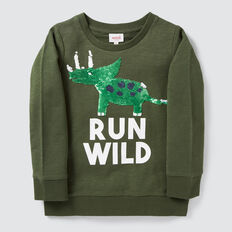 Dino Flip Sequin Sweater  TREETOP  hi-res