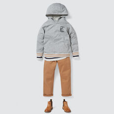 Pull On Hoodie  MID GREY MARLE  hi-res