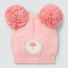 Pom Pom Bear Beanie  DUSTY PINK  hi-res