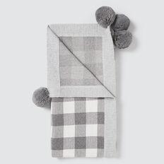 Gingham Pom Pom Blanket  SLATE MARLE  hi-res