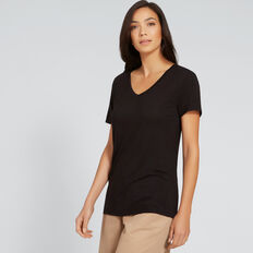 Core V-Neck Drapey Tee  BLACK  hi-res