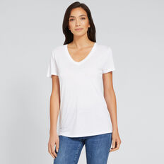 Core V-Neck Drapey Tee  WHISPER WHITE  hi-res