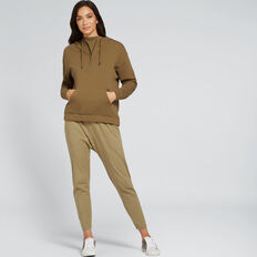 Gathered Hem Zip Hoodie  DARK KHAKI  hi-res