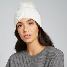 Cable Knit Beanie  CREAM  hi-res