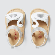 Toddler Swan Shoe  WHITE/SILVER  hi-res