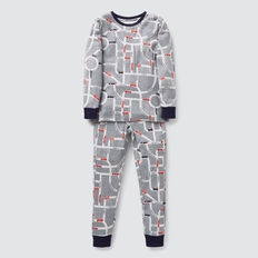 Long Sleeve Car Yardage Pyjama Set  CLOUDY MARLE  hi-res