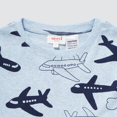 Plane Print Pyjamas  SLEEPY BLUE MARLE  hi-res