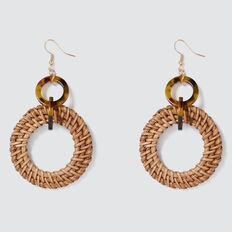 Tort And Rattan Earring  NATURAL  hi-res