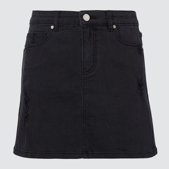 Distressed Denim Skirt  BLACK WASH  hi-res