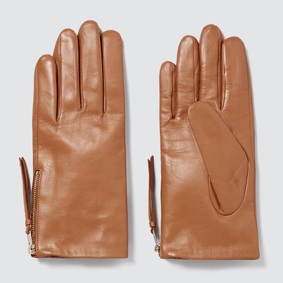 Zip Detail Leather Gloves  TAN  hi-res