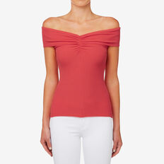 Fitted Off Shoulder Top  DUSTY RED  hi-res
