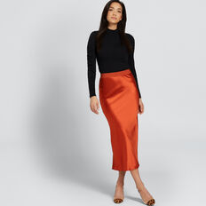 Satin Midi Skirt  BURNT TERRACOTTA  hi-res